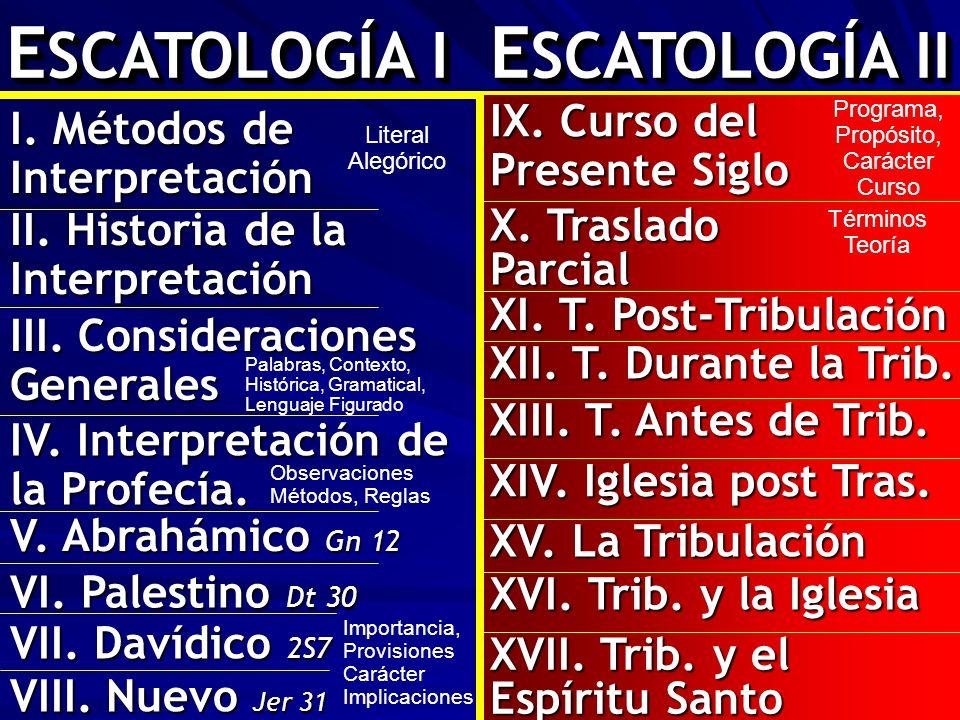 E SCATOLOGÍA I E SCATOLOGÍA II II. Historia de la Interpretación III. Consideraciones Generales Palabras, Contexto, Histórica, Gramatical, Lenguaje Fi