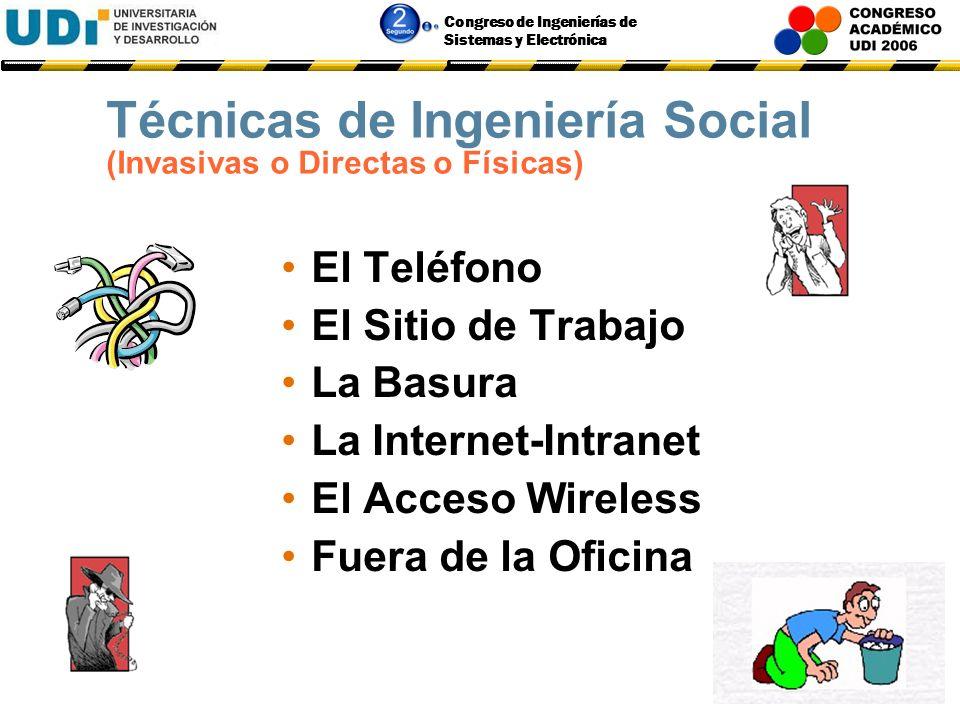 Congreso de Ingenierías de Sistemas y Electrónica Técnicas y Herramientas de Ingeniería Social Invasivas o Directas o Físicas