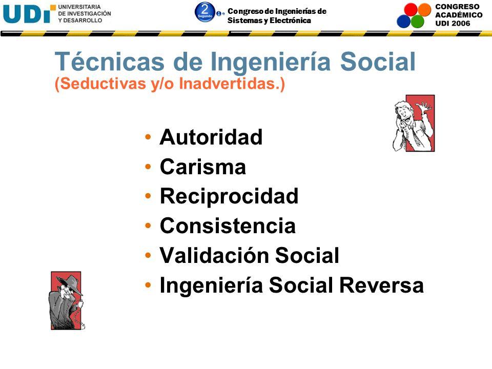Congreso de Ingenierías de Sistemas y Electrónica Técnicas y Herramientas de Ingeniería Social Seductivas y/o Inadvertidas.