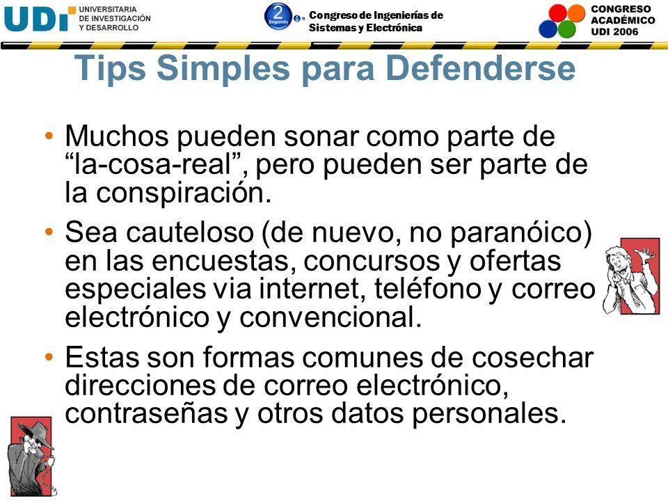 Congreso de Ingenierías de Sistemas y Electrónica Tips Simples para Defenderse Al teléfono, obtenga nombres e identidades (Nro. De Empleado, por ejemp