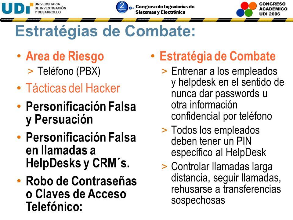 Congreso de Ingenierías de Sistemas y Electrónica Estratégias de Combate: Area de Riesgo > Acceso Wireless Estratégia de Combate > Esconder SID > Usar