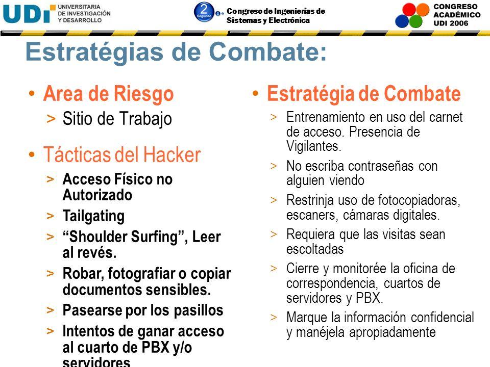Congreso de Ingenierías de Sistemas y Electrónica Estratégias de Combate: Area de Riesgo > Teléfono (PBX) Estratégia de Combate > Entrenar a los emple