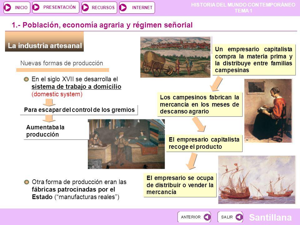 HISTORIA DEL MUNDO CONTEMPORÁNEO TEMA 1 RECURSOSINTERNETPRESENTACIÓN Santillana INICIO Nuevas formas de producción En el siglo XVII se desarrolla el s