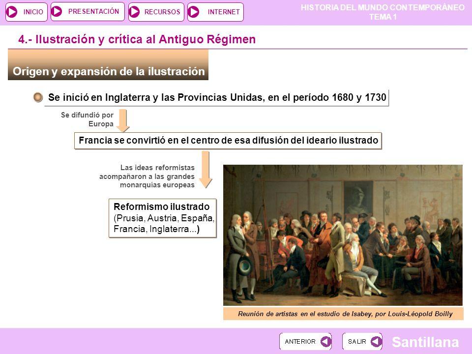 HISTORIA DEL MUNDO CONTEMPORÁNEO TEMA 1 RECURSOSINTERNETPRESENTACIÓN Santillana INICIO Origen y expansión de la ilustración Se inició en Inglaterra y