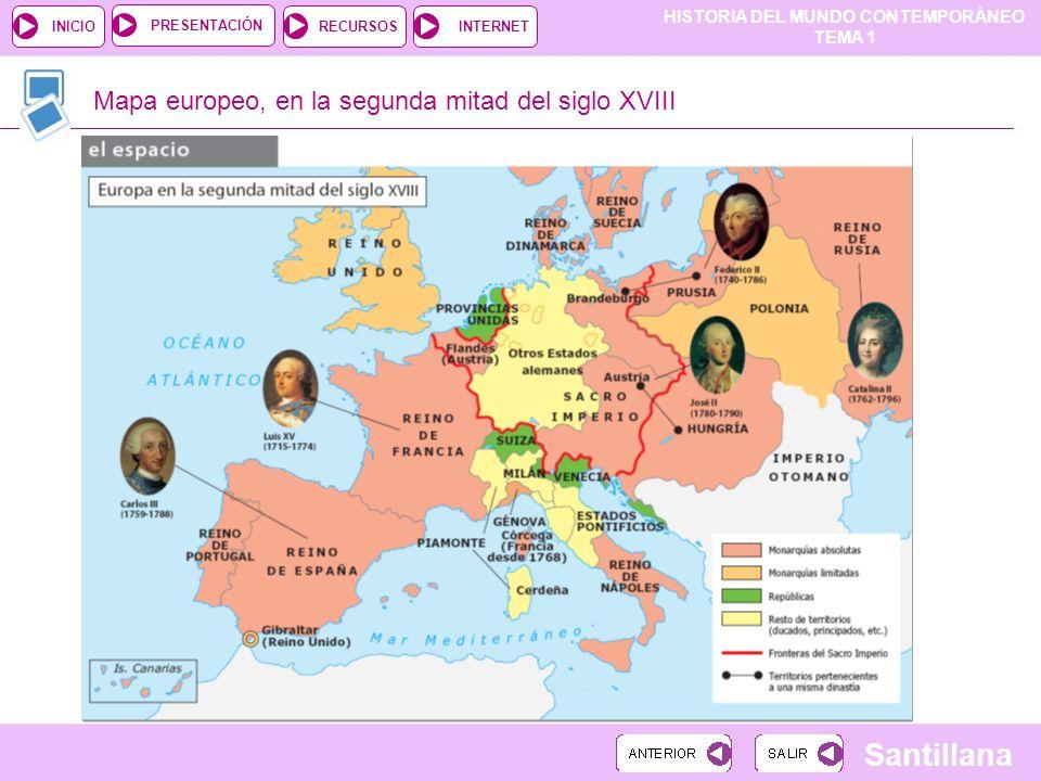 HISTORIA DEL MUNDO CONTEMPORÁNEO TEMA 1 RECURSOSINTERNETPRESENTACIÓN Santillana INICIO Mapa europeo, en la segunda mitad del siglo XVIII