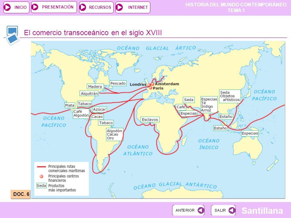 HISTORIA DEL MUNDO CONTEMPORÁNEO TEMA 1 RECURSOSINTERNETPRESENTACIÓN Santillana INICIO El comercio transoceánico en el siglo XVIII DOC. 6