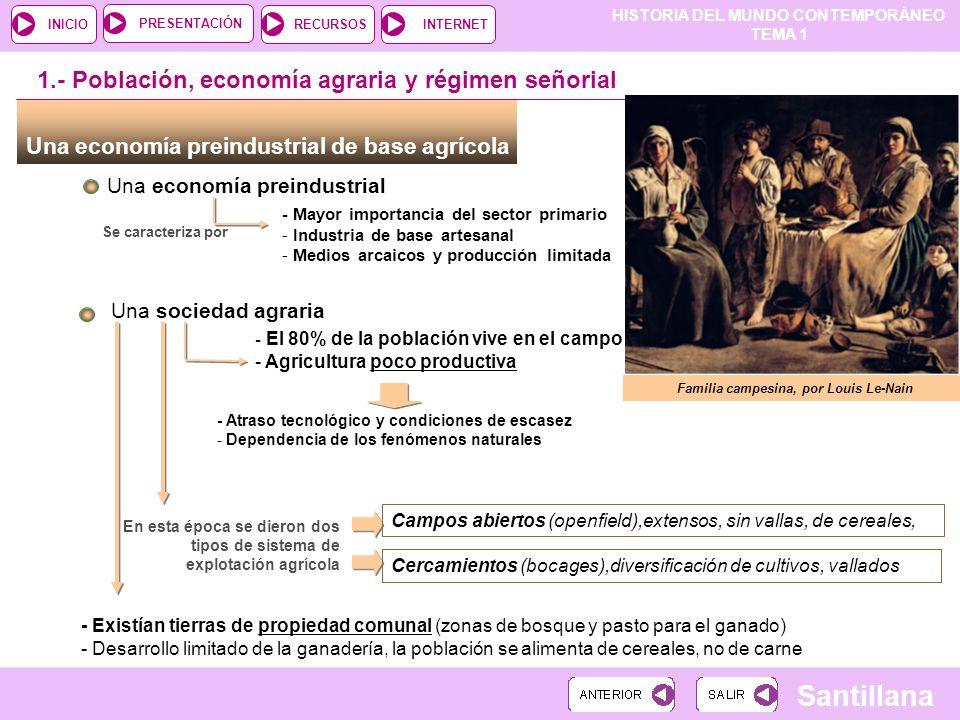 HISTORIA DEL MUNDO CONTEMPORÁNEO TEMA 1 RECURSOSINTERNETPRESENTACIÓN Santillana INICIO Una economía preindustrial de base agrícola Una economía preind