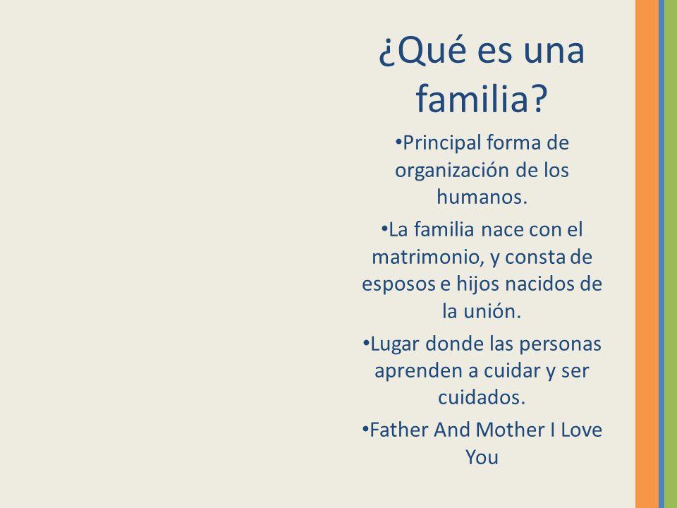¿Qué es una familia? Principal forma de organización de los humanos. La familia nace con el matrimonio, y consta de esposos e hijos nacidos de la unió