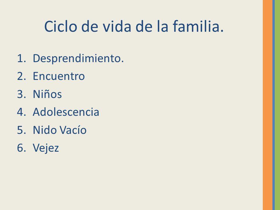Ciclo de vida de la familia. 1.Desprendimiento. 2.Encuentro 3.Niños 4.Adolescencia 5.Nido Vacío 6.Vejez
