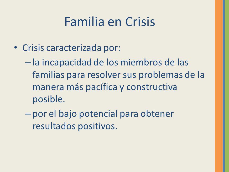 Familia en Crisis Crisis caracterizada por: – la incapacidad de los miembros de las familias para resolver sus problemas de la manera más pacífica y c