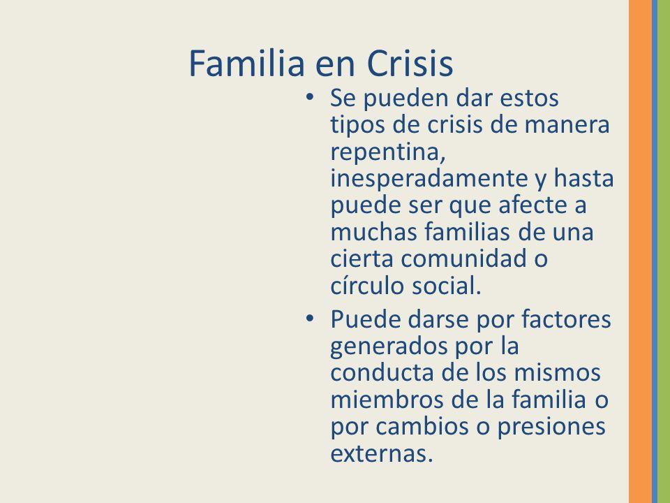 Familia en Crisis Se pueden dar estos tipos de crisis de manera repentina, inesperadamente y hasta puede ser que afecte a muchas familias de una ciert