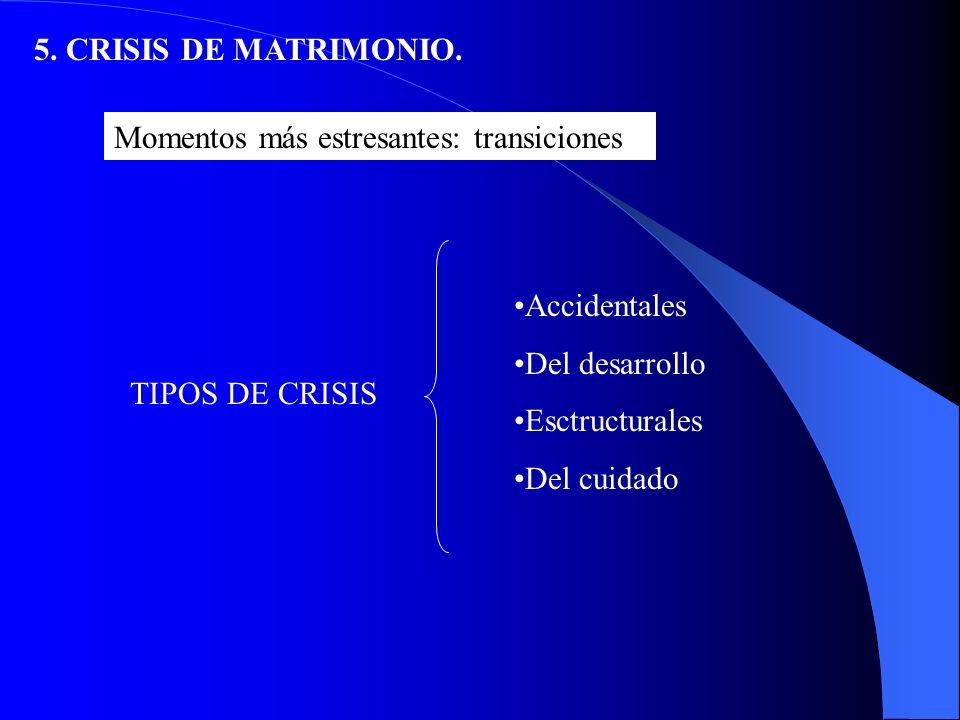 5.CRISIS DEL MATRIMONIO. Es imposible estar casado y bien al mismo tiempo.