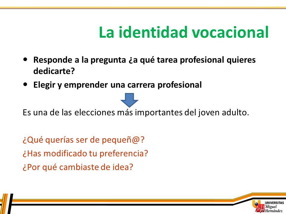 La identidad vocacional 10 Responde a la pregunta ¿a qué tarea profesional quieres dedicarte? Elegir y emprender una carrera profesional Es una de las
