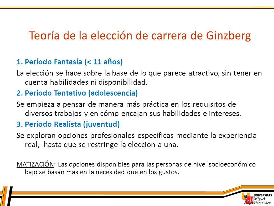 12 Teoría de la elección de carrera de Ginzberg 1. Período Fantasía (< 11 años) La elección se hace sobre la base de lo que parece atractivo, sin tene