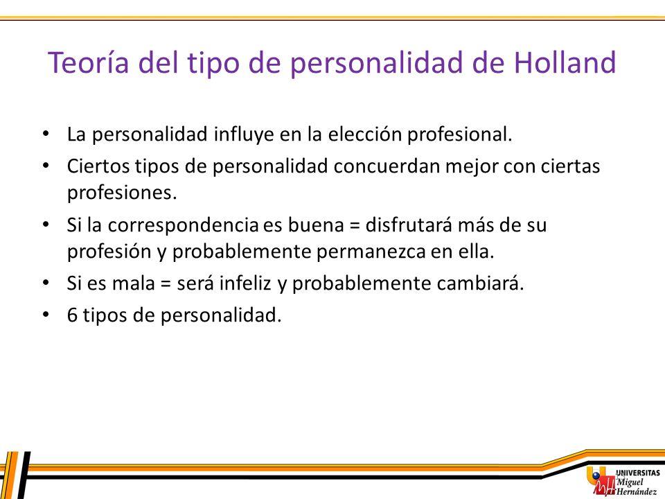 Teoría del tipo de personalidad de Holland 13 La personalidad influye en la elección profesional. Ciertos tipos de personalidad concuerdan mejor con c