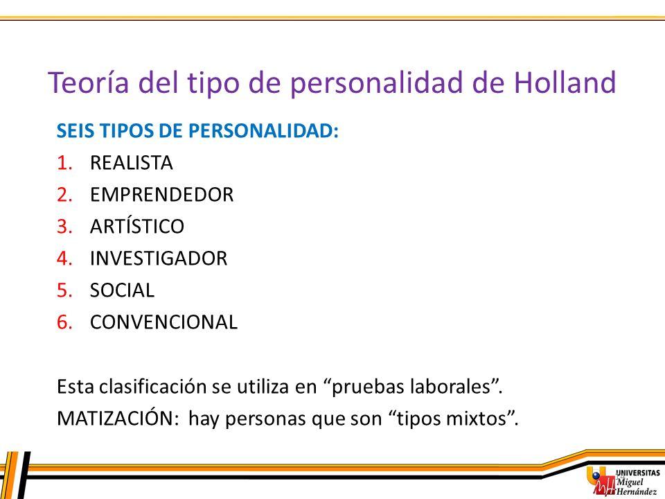 Teoría del tipo de personalidad de Holland 14 SEIS TIPOS DE PERSONALIDAD: 1.REALISTA 2.EMPRENDEDOR 3.ARTÍSTICO 4.INVESTIGADOR 5.SOCIAL 6.CONVENCIONAL