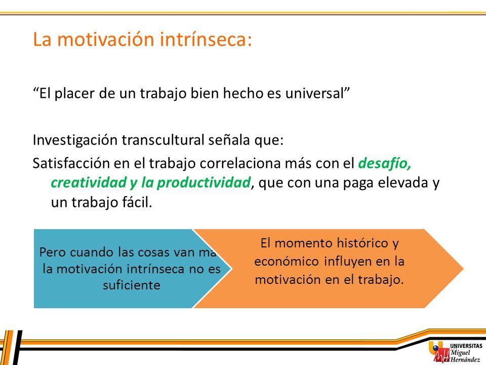 16 La motivación intrínseca: El placer de un trabajo bien hecho es universal Investigación transcultural señala que: Satisfacción en el trabajo correl
