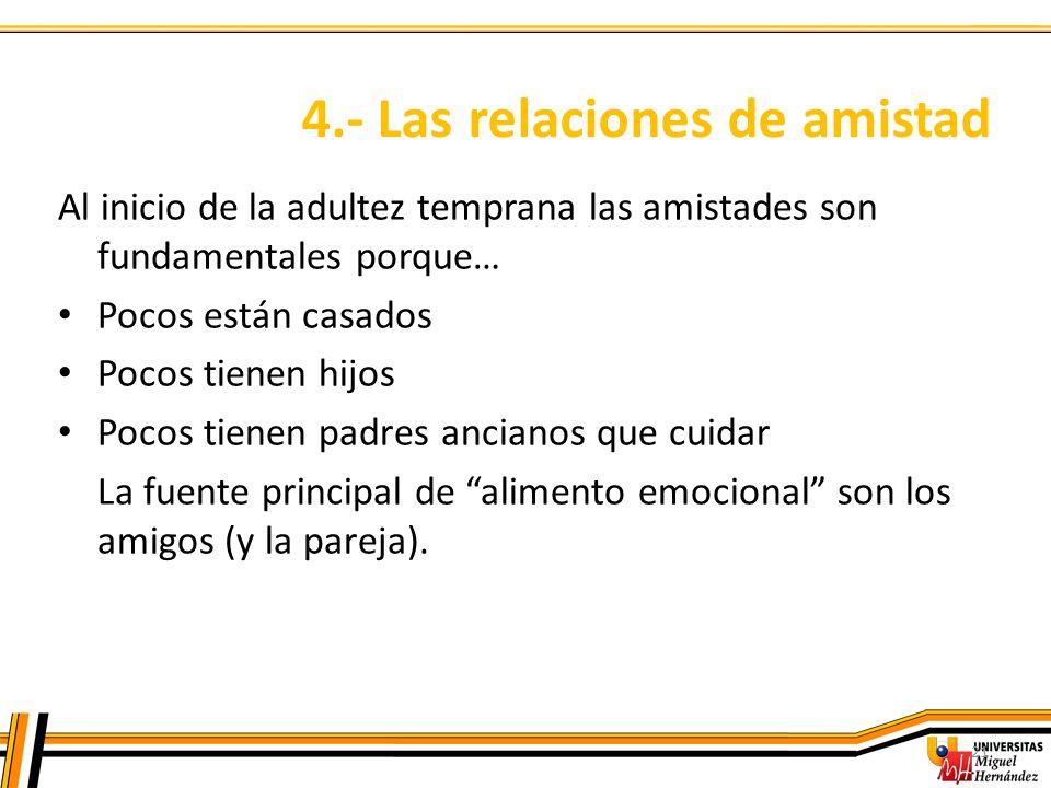 4.- Las relaciones de amistad 21 Al inicio de la adultez temprana las amistades son fundamentales porque… Pocos están casados Pocos tienen hijos Pocos