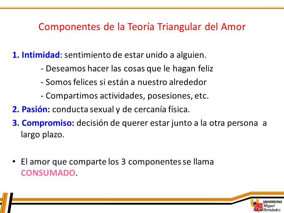 Componentes de la Teoría Triangular del Amor 28 1. Intimidad: sentimiento de estar unido a alguien. - Deseamos hacer las cosas que le hagan feliz - So