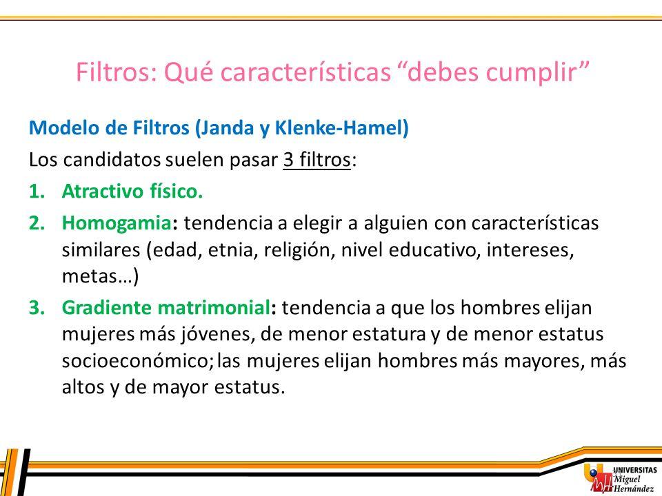Filtros: Qué características debes cumplir 31 Modelo de Filtros (Janda y Klenke-Hamel) Los candidatos suelen pasar 3 filtros: 1.Atractivo físico. 2.Ho
