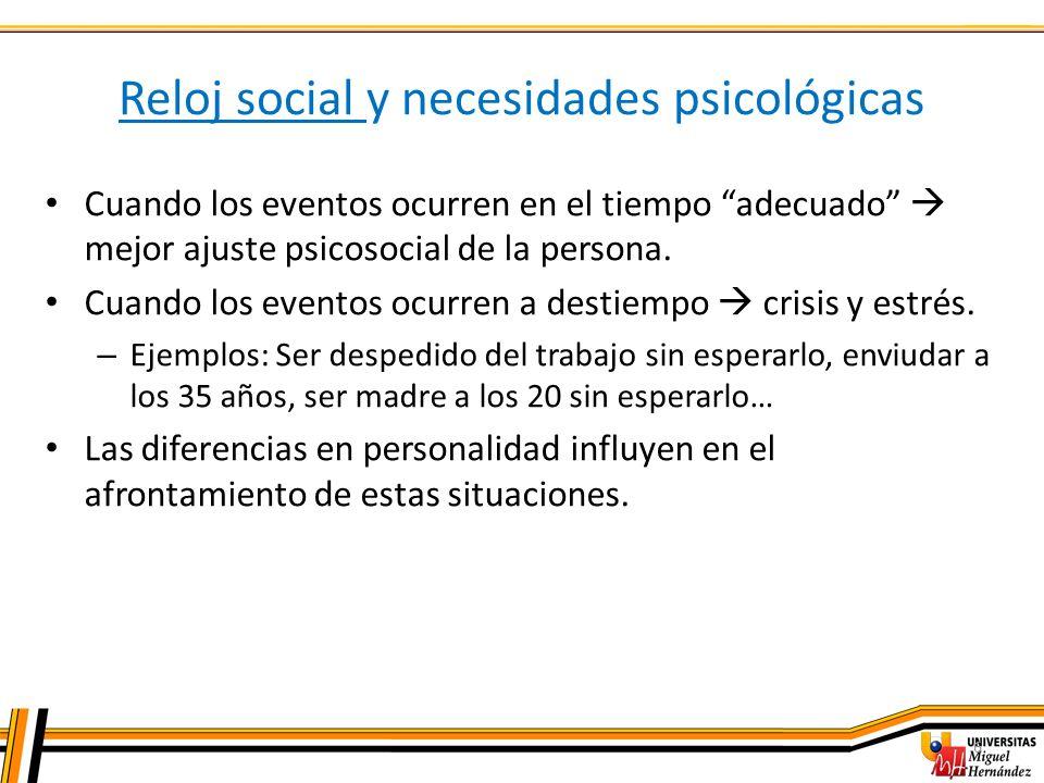 6 Reloj social y necesidades psicológicas Cuando los eventos ocurren en el tiempo adecuado mejor ajuste psicosocial de la persona. Cuando los eventos