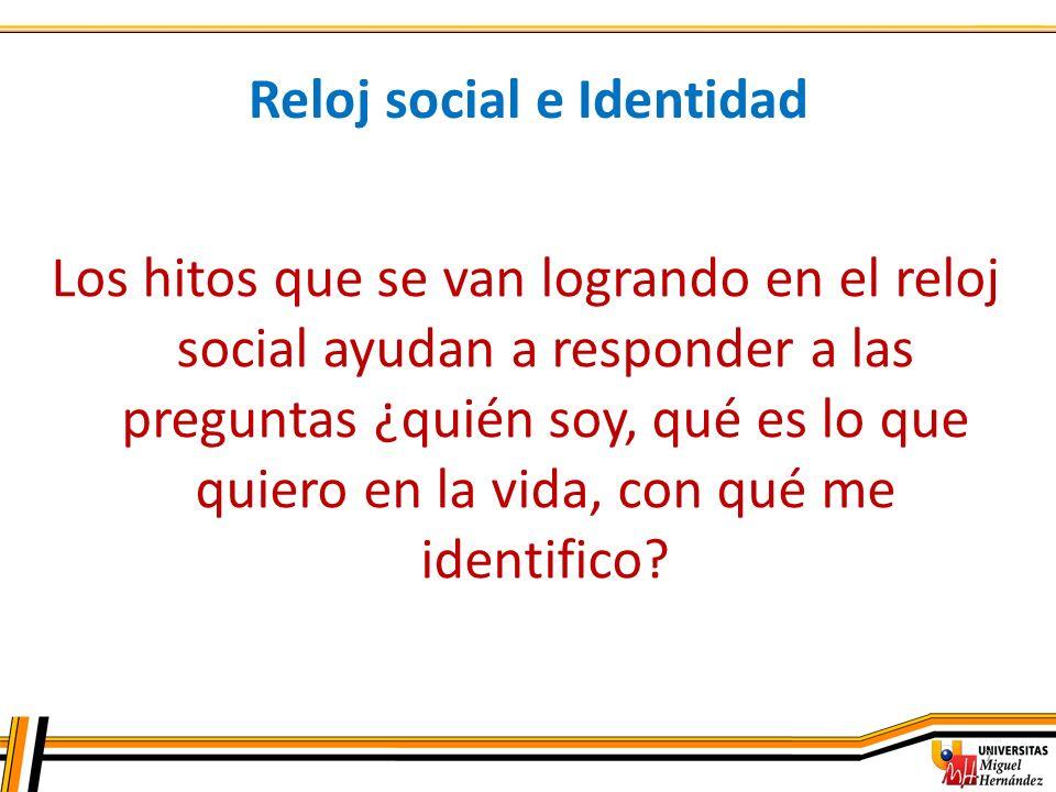 7 Reloj social e Identidad Los hitos que se van logrando en el reloj social ayudan a responder a las preguntas ¿quién soy, qué es lo que quiero en la