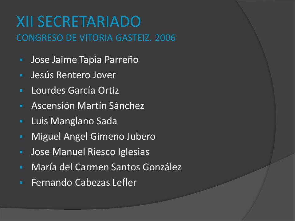 XII SECRETARIADO CONGRESO DE VITORIA GASTEIZ. 2006 Jose Jaime Tapia Parreño Jesús Rentero Jover Lourdes García Ortiz Ascensión Martín Sánchez Luis Man