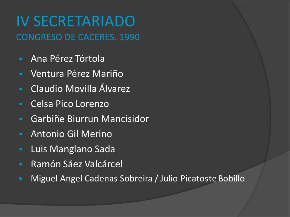 IV SECRETARIADO CONGRESO DE CACERES. 1990 Ana Pérez Tórtola Ventura Pérez Mariño Claudio Movilla Álvarez Celsa Pico Lorenzo Garbiñe Biurrun Mancisidor