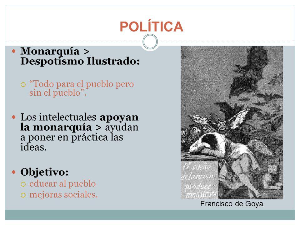 POLÍTICA Monarquía > Despotismo Ilustrado: Todo para el pueblo pero sin el pueblo. Los intelectuales apoyan la monarquía > ayudan a poner en práctica