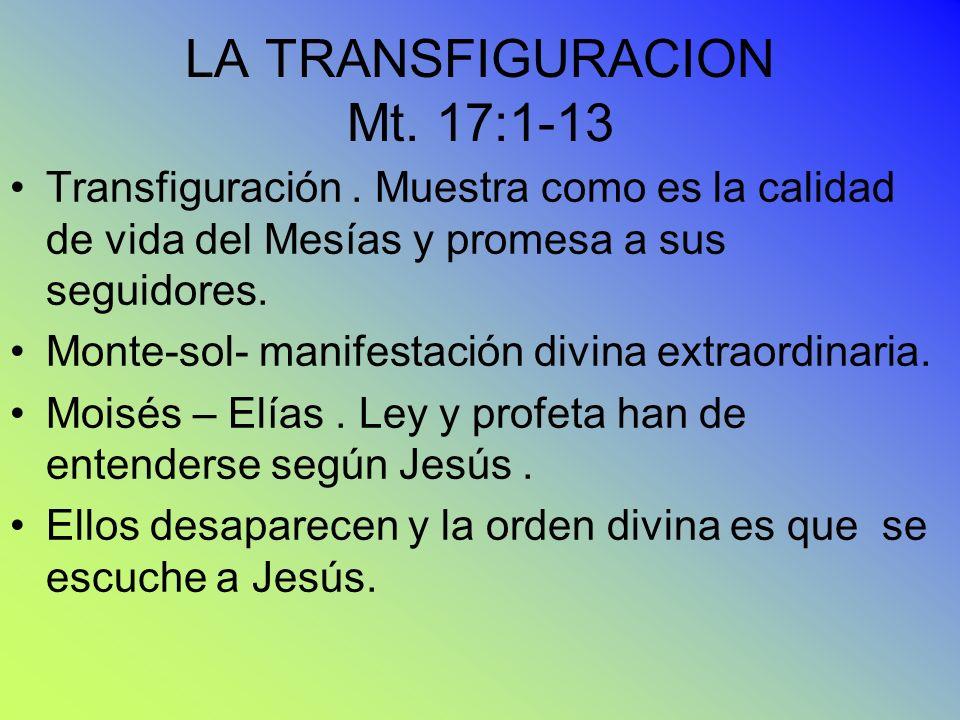 LA TRANSFIGURACION Mt. 17:1-13 Transfiguración. Muestra como es la calidad de vida del Mesías y promesa a sus seguidores. Monte-sol- manifestación div