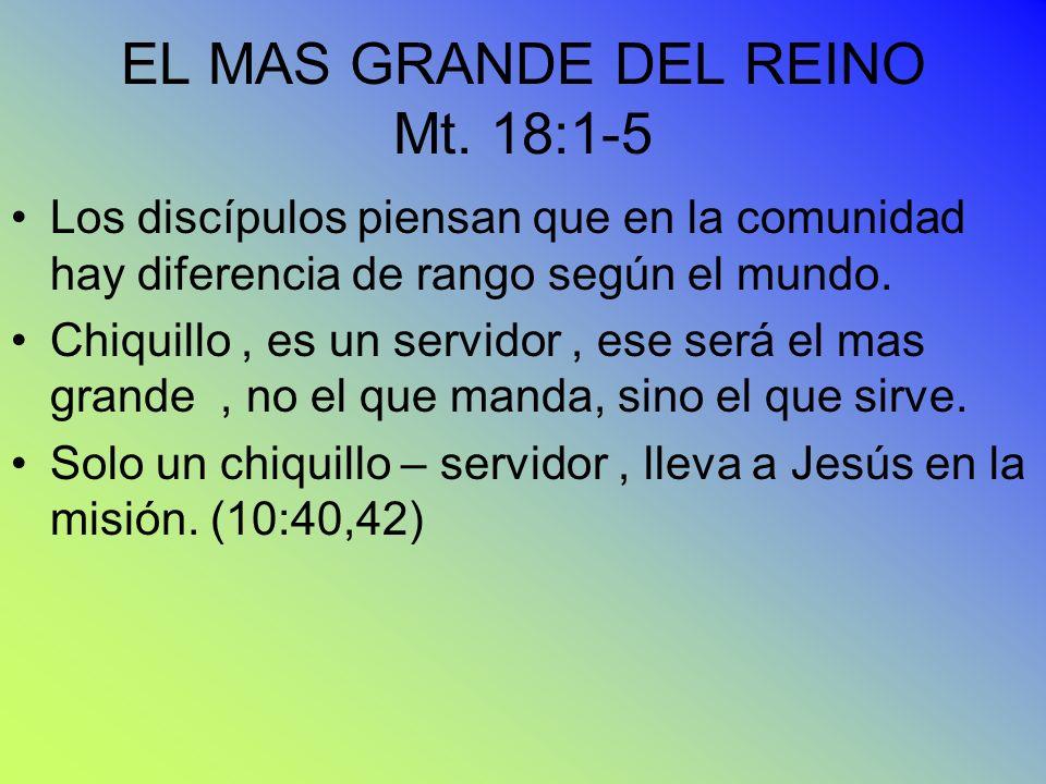 EL MAS GRANDE DEL REINO Mt. 18:1-5 Los discípulos piensan que en la comunidad hay diferencia de rango según el mundo. Chiquillo, es un servidor, ese s
