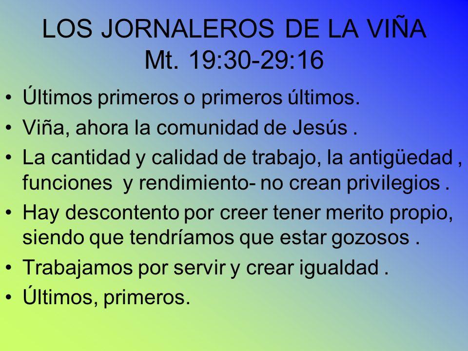 LOS JORNALEROS DE LA VIÑA Mt. 19:30-29:16 Últimos primeros o primeros últimos. Viña, ahora la comunidad de Jesús. La cantidad y calidad de trabajo, la
