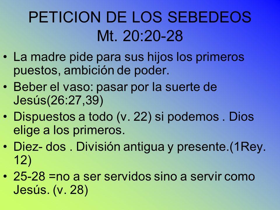 PETICION DE LOS SEBEDEOS Mt. 20:20-28 La madre pide para sus hijos los primeros puestos, ambición de poder. Beber el vaso: pasar por la suerte de Jesú