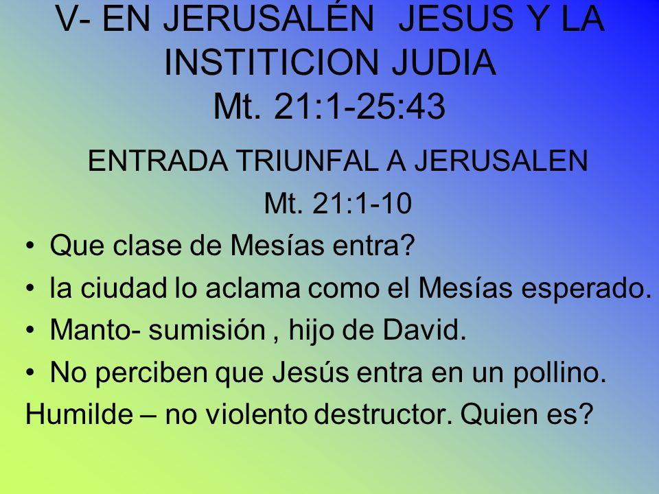 V- EN JERUSALÉN JESUS Y LA INSTITICION JUDIA Mt. 21:1-25:43 ENTRADA TRIUNFAL A JERUSALEN Mt. 21:1-10 Que clase de Mesías entra? la ciudad lo aclama co