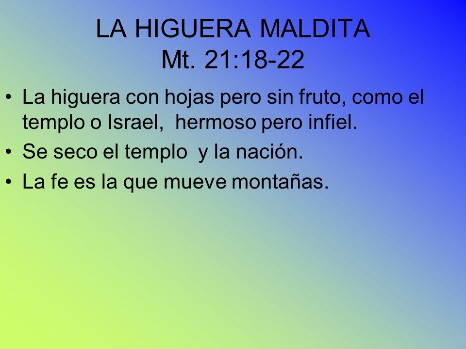 LA HIGUERA MALDITA Mt. 21:18-22 La higuera con hojas pero sin fruto, como el templo o Israel, hermoso pero infiel. Se seco el templo y la nación. La f