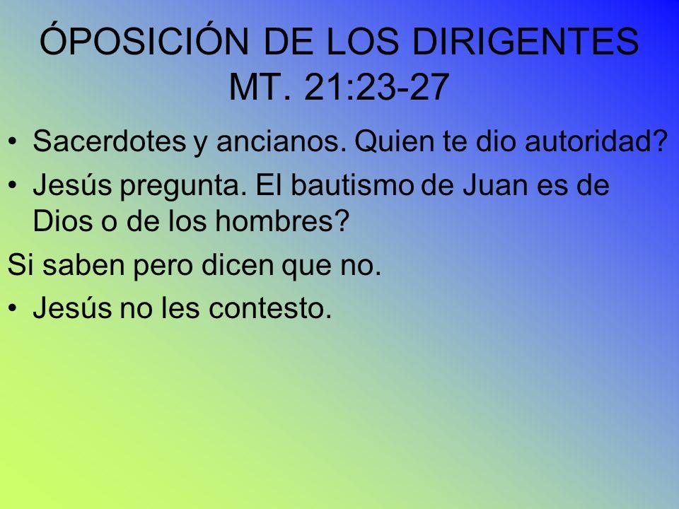 ÓPOSICIÓN DE LOS DIRIGENTES MT. 21:23-27 Sacerdotes y ancianos. Quien te dio autoridad? Jesús pregunta. El bautismo de Juan es de Dios o de los hombre
