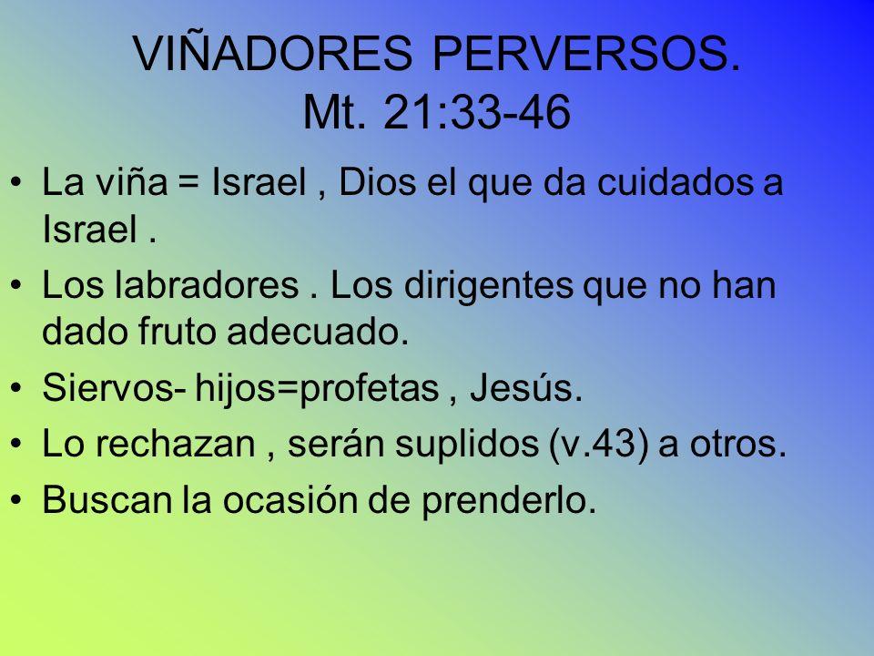 VIÑADORES PERVERSOS. Mt. 21:33-46 La viña = Israel, Dios el que da cuidados a Israel. Los labradores. Los dirigentes que no han dado fruto adecuado. S