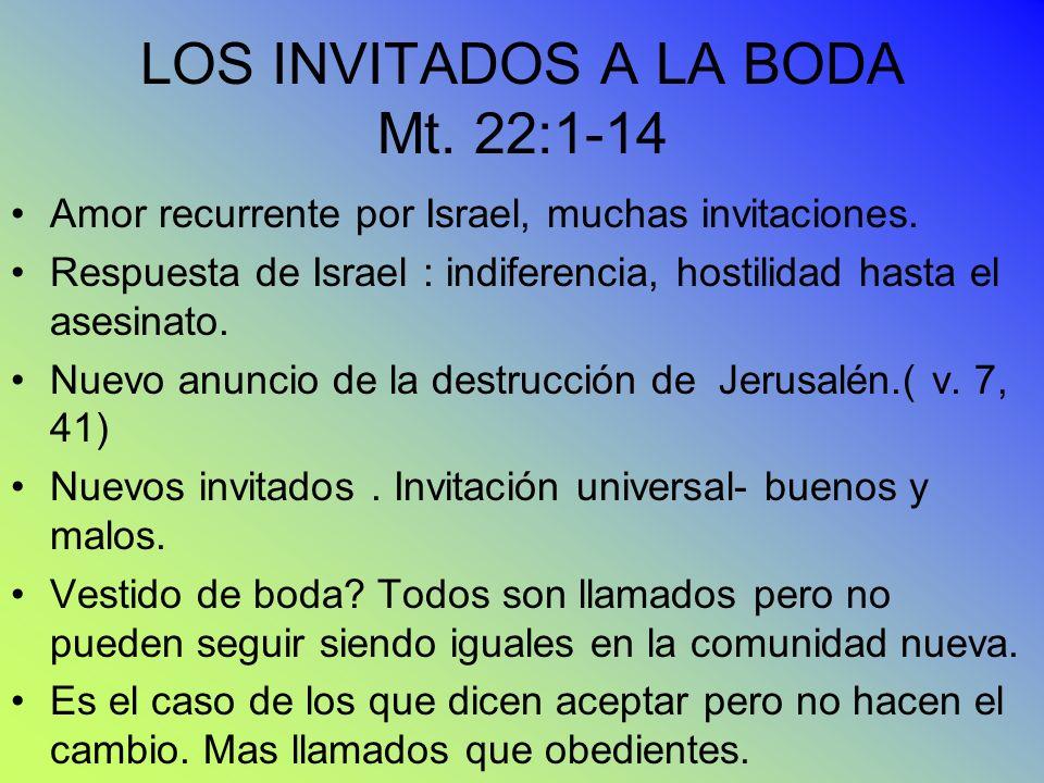 LOS INVITADOS A LA BODA Mt. 22:1-14 Amor recurrente por Israel, muchas invitaciones. Respuesta de Israel : indiferencia, hostilidad hasta el asesinato