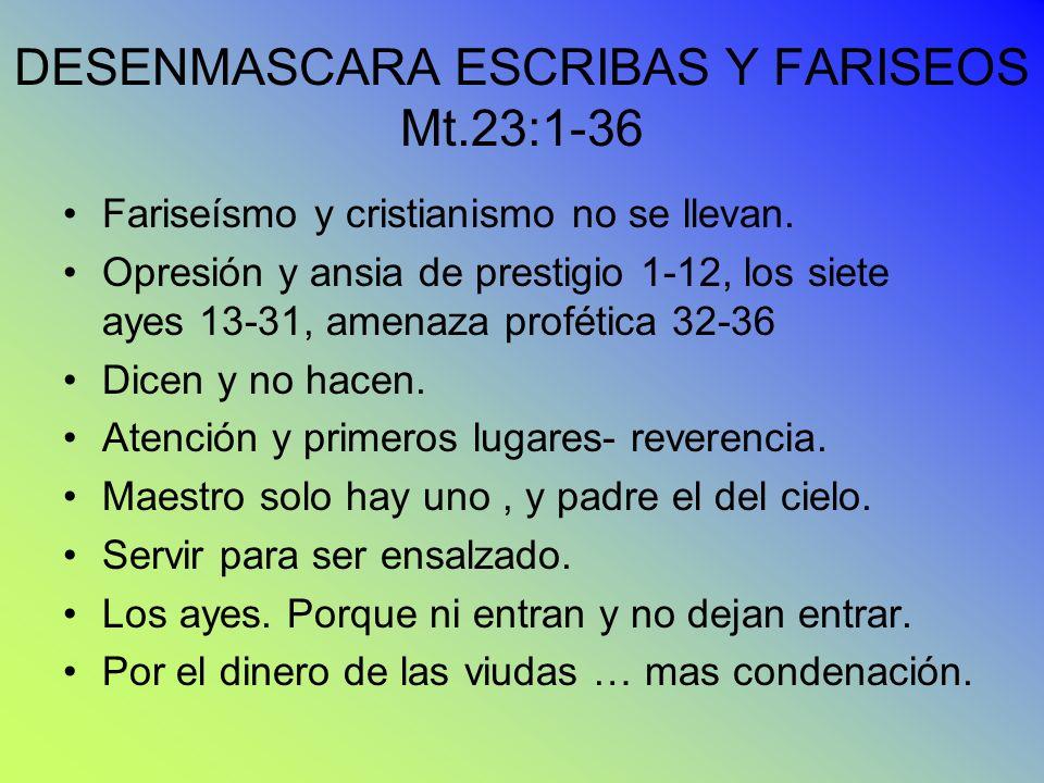 DESENMASCARA ESCRIBAS Y FARISEOS Mt.23:1-36 Fariseísmo y cristianismo no se llevan. Opresión y ansia de prestigio 1-12, los siete ayes 13-31, amenaza