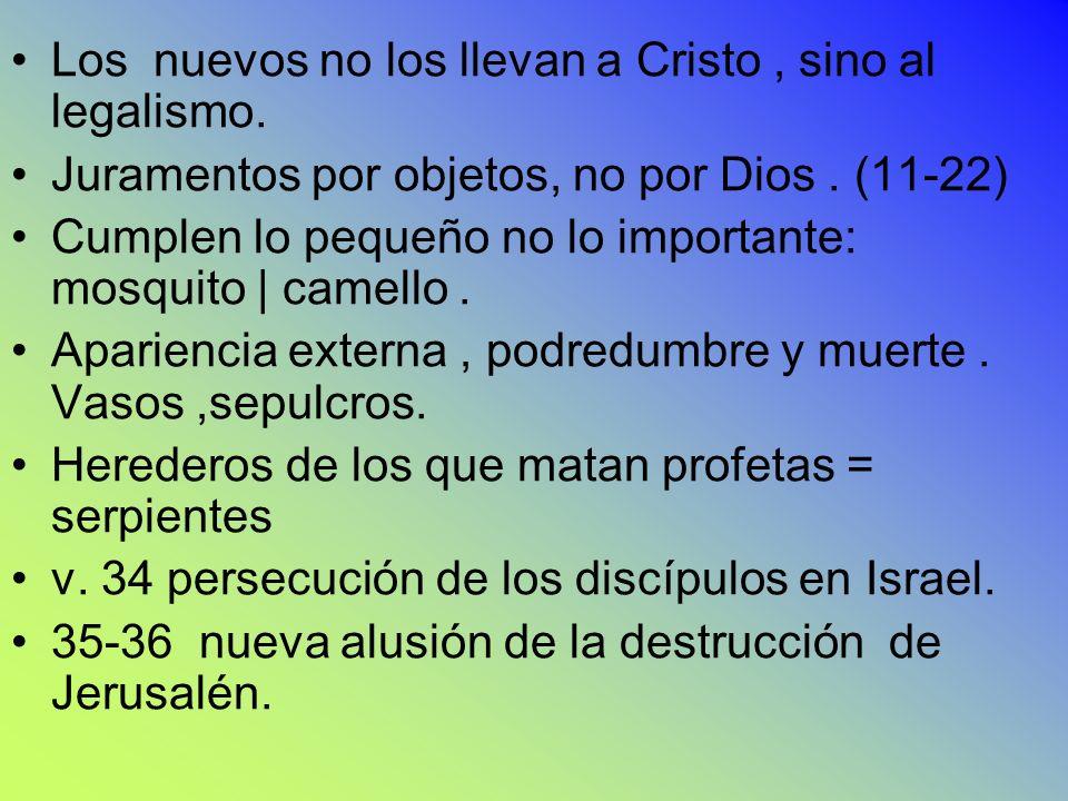 Los nuevos no los llevan a Cristo, sino al legalismo. Juramentos por objetos, no por Dios. (11-22) Cumplen lo pequeño no lo importante: mosquito | cam