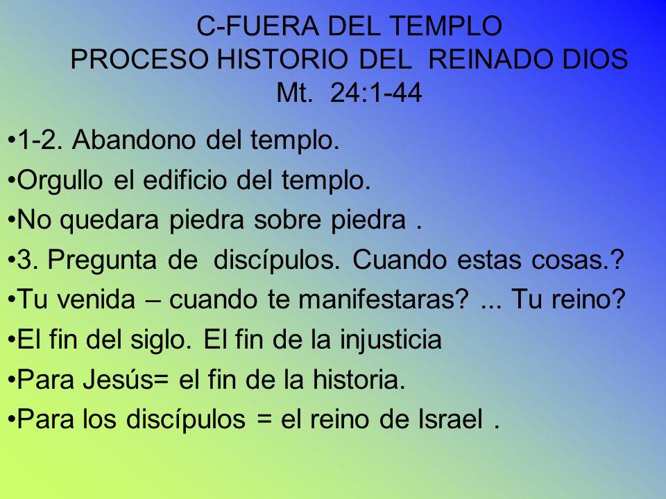 C-FUERA DEL TEMPLO PROCESO HISTORIO DEL REINADO DIOS Mt. 24:1-44 1-2. Abandono del templo. Orgullo el edificio del templo. No quedara piedra sobre pie