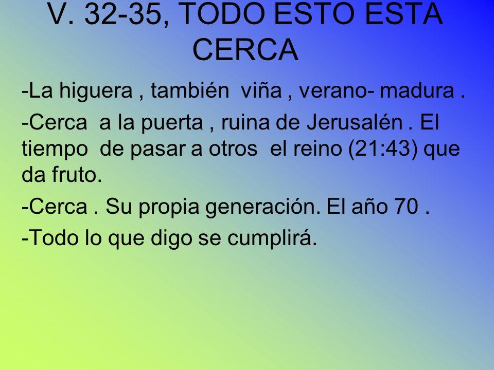 V. 32-35, TODO ESTO ESTA CERCA -La higuera, también viña, verano- madura. -Cerca a la puerta, ruina de Jerusalén. El tiempo de pasar a otros el reino