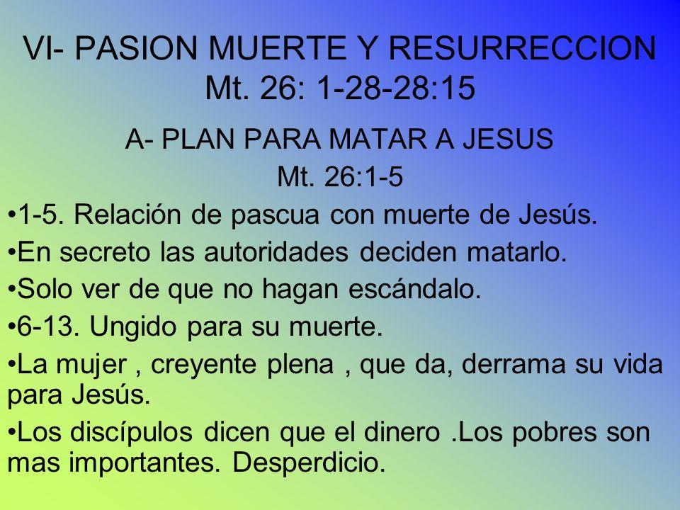 VI- PASION MUERTE Y RESURRECCION Mt. 26: 1-28-28:15 A- PLAN PARA MATAR A JESUS Mt. 26:1-5 1-5. Relación de pascua con muerte de Jesús. En secreto las