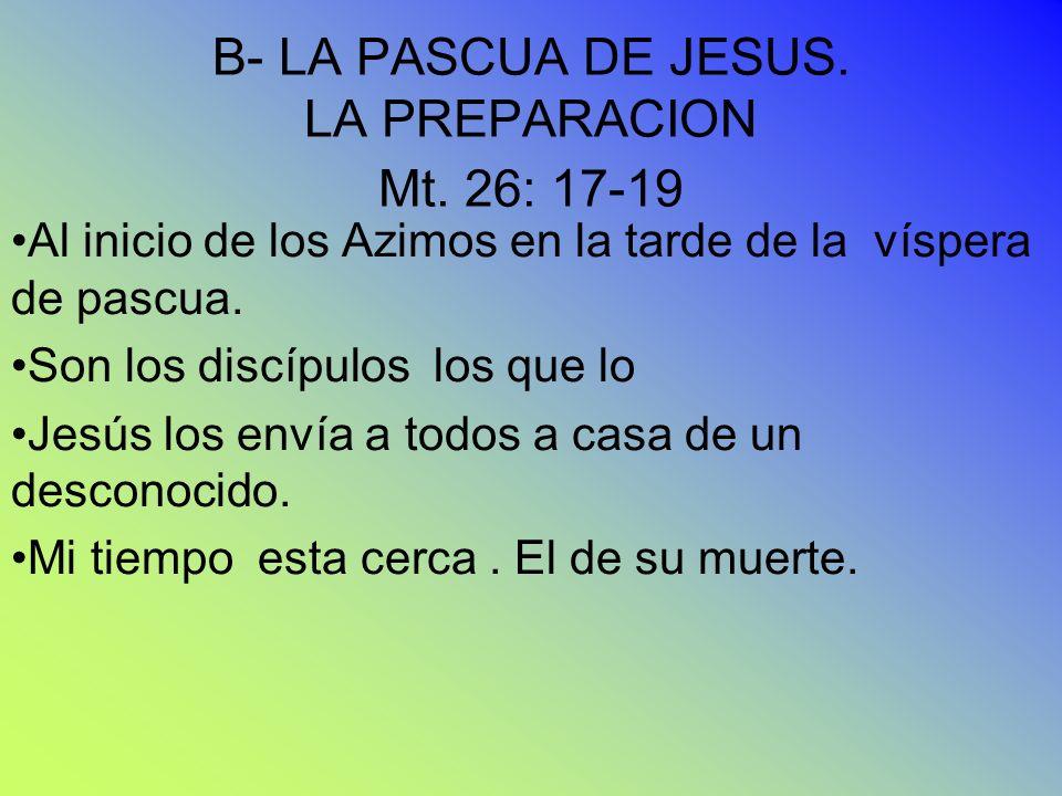 B- LA PASCUA DE JESUS. LA PREPARACION Mt. 26: 17-19 Al inicio de los Azimos en la tarde de la víspera de pascua. Son los discípulos los que lo Jesús l