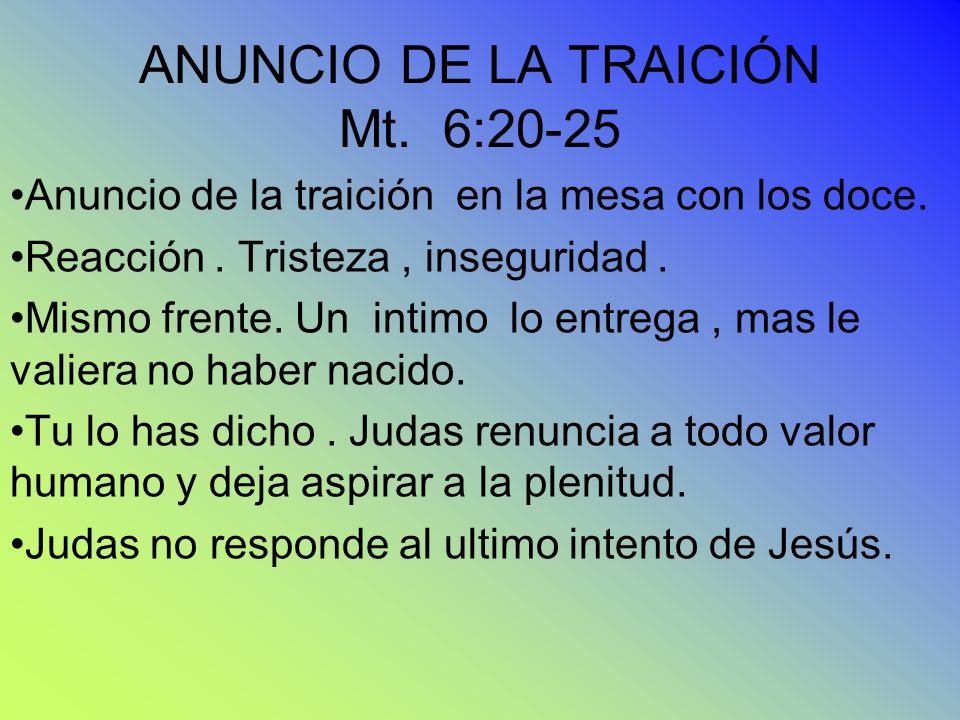 ANUNCIO DE LA TRAICIÓN Mt. 6:20-25 Anuncio de la traición en la mesa con los doce. Reacción. Tristeza, inseguridad. Mismo frente. Un intimo lo entrega