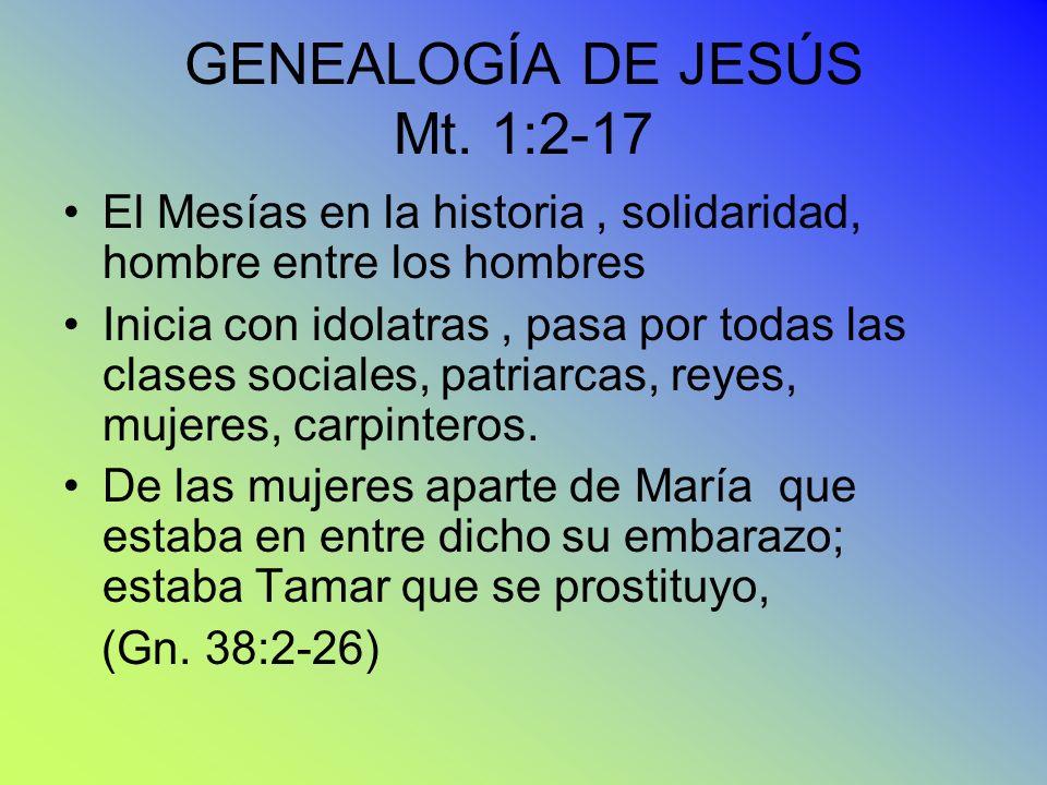 GENEALOGÍA DE JESÚS Mt. 1:2-17 El Mesías en la historia, solidaridad, hombre entre los hombres Inicia con idolatras, pasa por todas las clases sociale