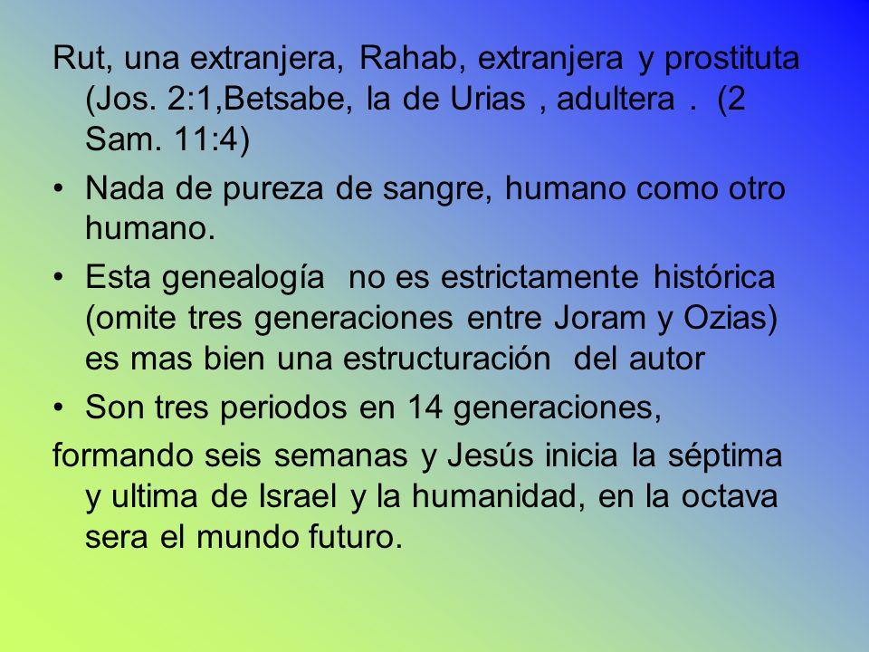 Nes Nes Rut, una extranjera, Rahab, extranjera y prostituta (Jos. 2:1,Betsabe, la de Urias, adultera. (2 Sam. 11:4) Nada de pureza de sangre, humano c