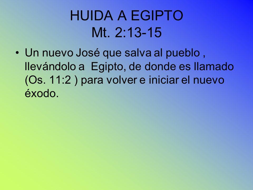 HUIDA A EGIPTO Mt. 2:13-15 Un nuevo José que salva al pueblo, llevándolo a Egipto, de donde es llamado (Os. 11:2 ) para volver e iniciar el nuevo éxod