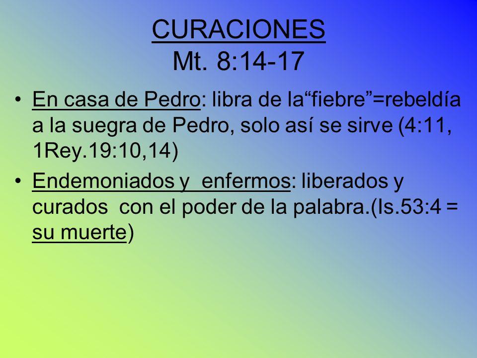 CURACIONES Mt. 8:14-17 En casa de Pedro: libra de lafiebre=rebeldía a la suegra de Pedro, solo así se sirve (4:11, 1Rey.19:10,14) Endemoniados y enfer