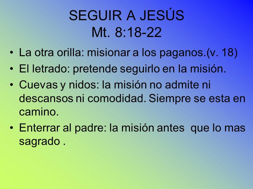 SEGUIR A JESÚS Mt. 8:18-22 La otra orilla: misionar a los paganos.(v. 18) El letrado: pretende seguirlo en la misión. Cuevas y nidos: la misión no adm